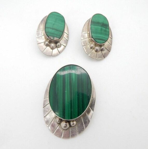 Vintage Sterling Silver925 Large Oval Natural Green Malachite Dangle Pendant; # 5713
