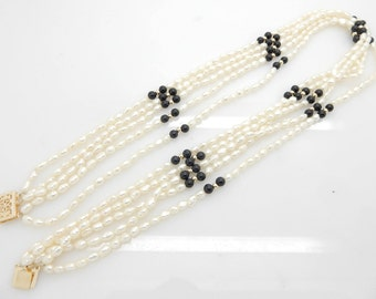 "Solid 14K Yellow Gold Filigree Clasp 5 Strand 4mm Freshwater Pearl & Onyx Necklace-17.5""; sku # 4272"