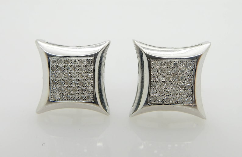 Solid 14K White Gold 0.25cttw H-SI Round Diamond Square Stud Screwback Earrings; sku # 3831