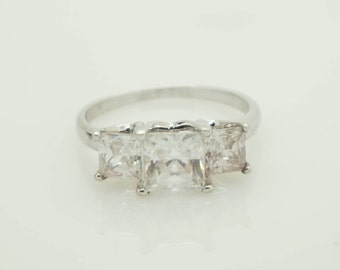JCM Solid Sterling Silver/925 Cubic Zirconia 3-Stone Engagement Ring-Sz 8; sku # 3520