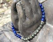 Crystal Gemstone Bracelet: Lapis Lazuli Pyrite