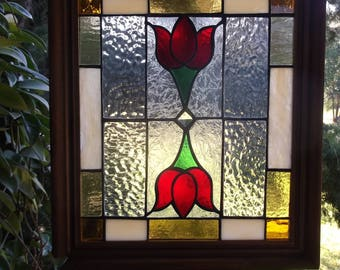 Art Deco Red Tulips in stainded glass