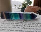 Fluorite Gemstone Crystal Wand Tower // Rainbow Healing Metaphysical Home Decor for Good Energy