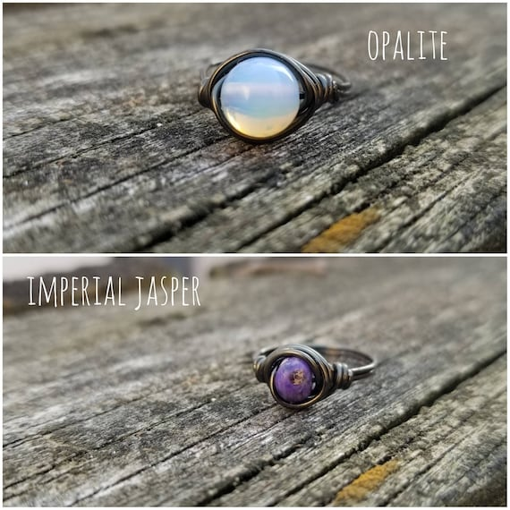 Gemstone Wire Wrapped Ring-Quadruple Band Copper Statement Ring-Apatite Amethyst Fluorite Aventurine-Multicolor Stone Boho Chic Jewelry