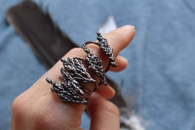 Copper Stacking Rings Electroformed Botanical Herbal Plant Jewelry Juniper Branch Ring Christmas Gift