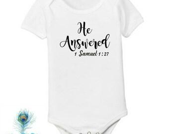 Answered Prayer Onesie\u2122  birth announcement  ivf  new born  last name 0 3 6 9 12  18 24 months