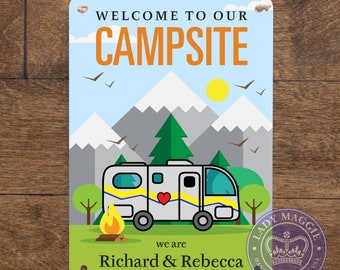 Rustic Camping Camper 4WD Wooden BBQ Country Blue Camper/'s Rules RV Sign