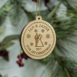 Couple's First Christmas Ornament - Happy Couple Anniversary Ornament- Custom Engraved Wooden Tree Decoration - Our First Christmas Ornament
