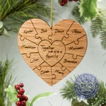 Personalized Family Puzzle Ornament - Mothers Day Gift - Custom Engraved Family Puzzle Keepsake - Wooden Engraved Family Names Heart Red Oak