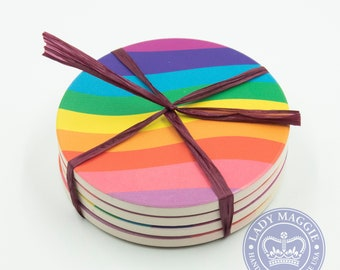 Housewarming Gift Gay Pride LBGTQ Wedding Anniversary Couples Gift Set of 4 Rainbow Flag Sandstone Coasters Rainbow Coasters Pride