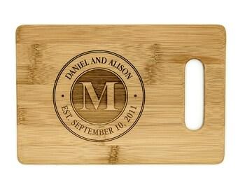 Personalized Cutting Board 9X6 - Couple's Custom Engraved Bamboo Chopping Board Handle - Wedding Cutting Board - Anniversary - Housewarming