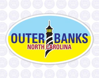 OBX Oval Lighthouse Decal - Outer Banks Bumper Sticker - OBX Outer Banks Decal - North Carolina Outer Banks Yeti Decal