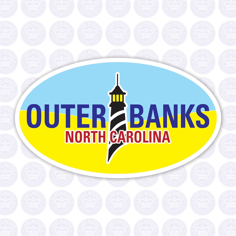 OBX Oval Lighthouse Decal  Outer Banks Bumper Sticker  OBX image 0