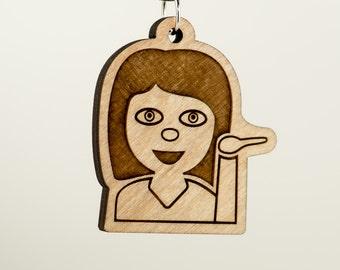 Information Desk Person Emoji Carved Wood Key Ring - Bitch Please Emoji Keychain - Help Desk Girl Emoticon Charm - Sassy Girl