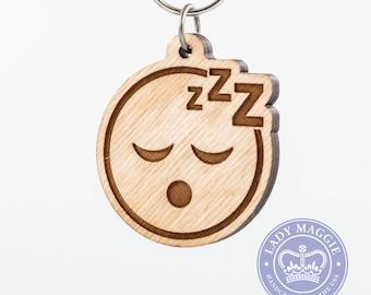 Sleeping Face Emoji Wooden Keychain - Sleep Face Emoji Carved Wood Key Ring - Sleepy Emoji - ZZZ Face Emoji