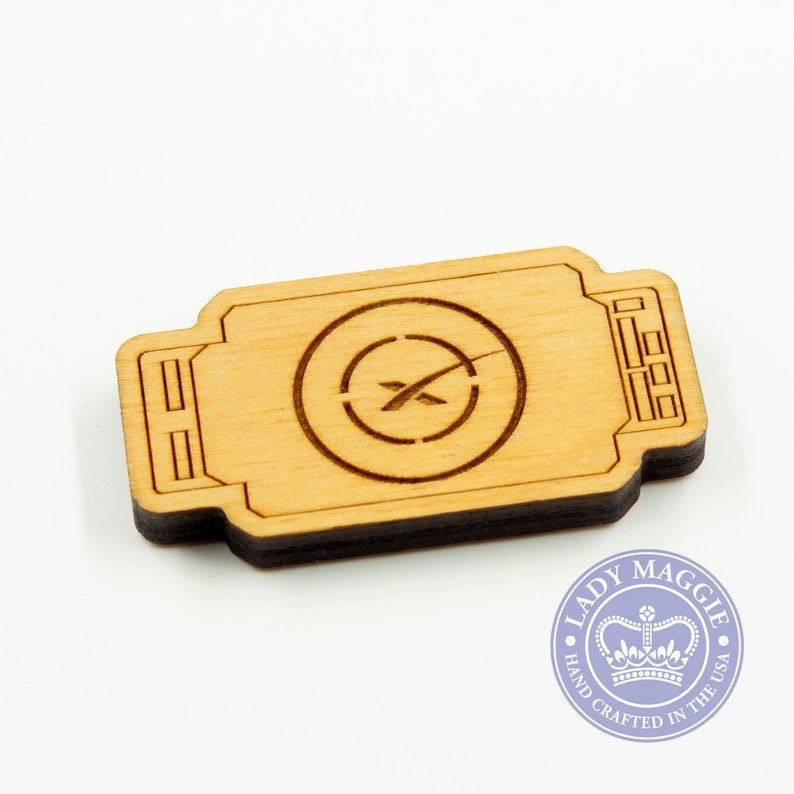 SpaceX Drone Ship Magnet  Birch Engraved Drone Ship Magnet  image 0