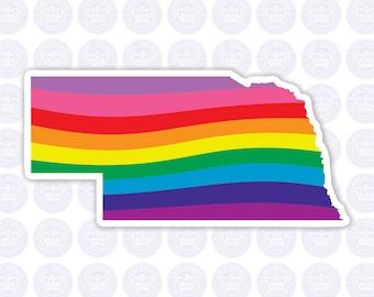 Nebraska Rainbow Flag Decal - NE State LGBTQ Decal - Nebraska Bumper Sticker - State of Nebraska Decal - Nebraska Gay Pride Bumper Sticker