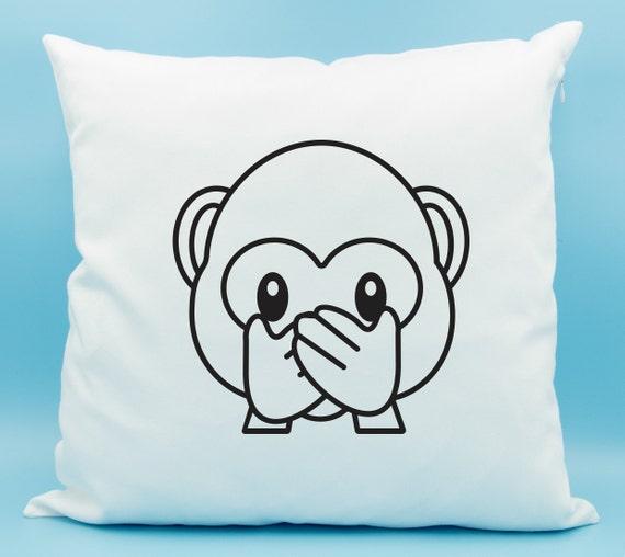 Speak No Evil Monkey Emoji Pillow Monkey Face Emoji Throw Etsy Best Monkey Covering Eyes Emoji Pillow