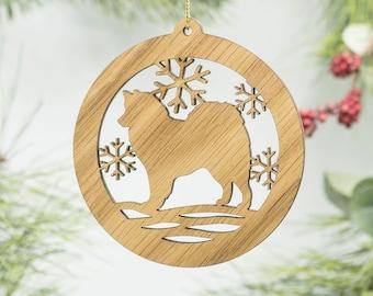 American Eskimo Christmas Ornament - Eskie Dog Silhouette Ornament - Spitz Ornament - American Eskimo Husky - Eskimo Spitz Ornament