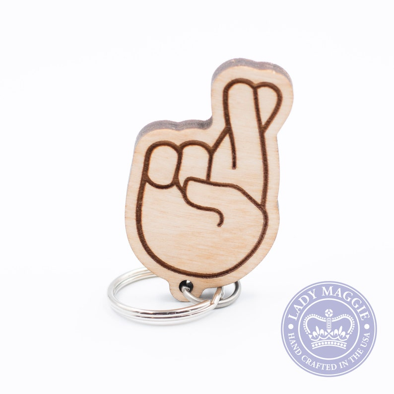 Fingers Crossed Emoji Keychain  Crossed Fingers Carved Wood image 0