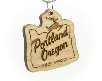 Portland Oregon Old Town Wooden Keychain - Old Town Portland OR Keychain - White Stag Wooden Oregon Carved Key Ring - Wooden OR Charm