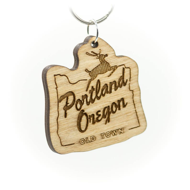 Portland Oregon Old Town Wooden Keychain  Old Town Portland image 0