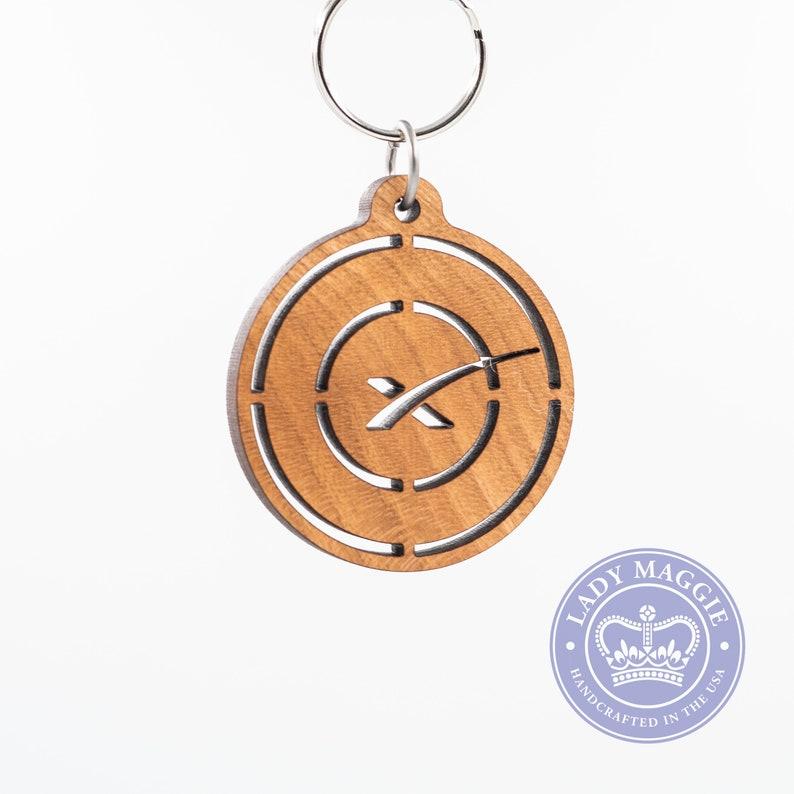 SpaceX Keychain - Space Flight Keychain - Space X Wooden Engraved Charm -  Aerospace Keychain - SpaceX Logo Laser Cut Cherry Keychain