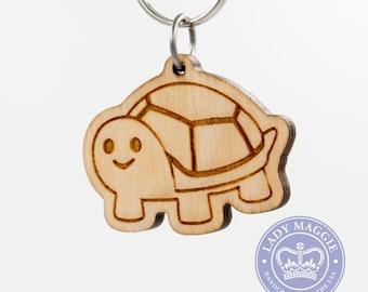 Turtle Emoji Keychain - Turtle Emoji Carved Wooden Key Ring - Turtle Emoticon Engraved Charm - Turtle Emoji - Android Version Turtle Emoji