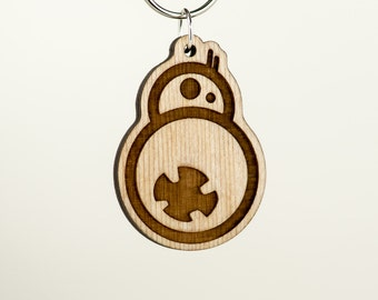 BB8 Wooden Keychain - Droid Carved Wood Key Ring -  BB-8 Wooden Engraved Charm