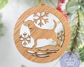 Beagle Christmas Ornament - Beagle Dog Silhouette Cut Wooden Tree Decoration - Beagle Ornament - Beagle Hound Silhouette - Dog Pet Ornament