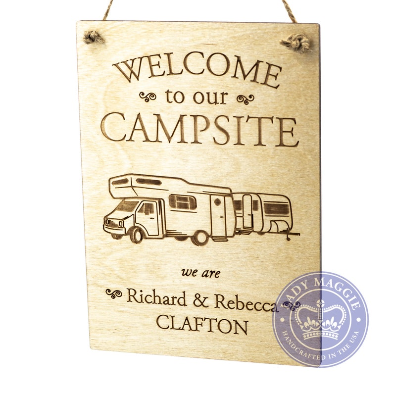 Personalized Camper Sign  Welcome to our Campsite Wooden Sign image 0