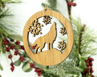 Wolf Christmas Wood Ornament - Woodland Animal Silhouette Laser Cut Wooden Tree Decoration - White Oak Wolf Ornament - Wildlife Ornament