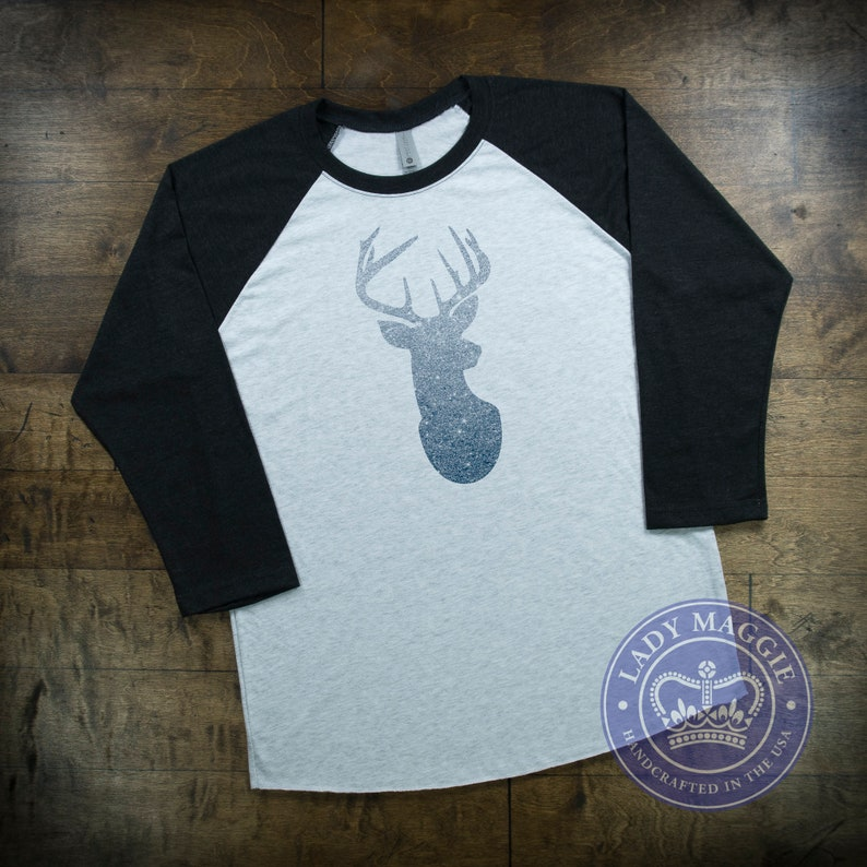 6a034913 Silver Glitter Deer Head Raglan Shirt Silver Stag Head Shirt   Etsy