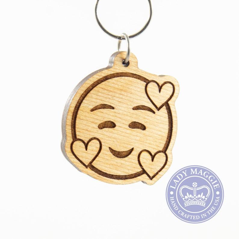 Smiling Face with Hearts Emoji Keychain  Love Emoji Wood Key image 0