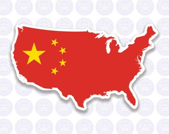 American Chinese Flag Decal - China Flag Expat Decal Bumper Sticker - American Chinese Flag - Chinese Expat Laptop Decal