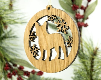 French Bulldog Christmas Wood Ornament - Frenchie Silhouette Laser Cut Wooden Tree Decoration - White Oak French Bulldog - Dog Ornament