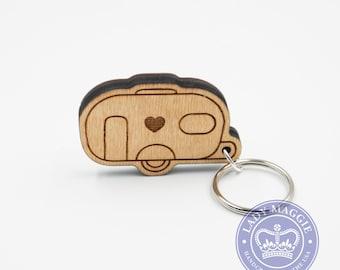 Camper Keychain - Single Wheel Camper - Camping Trailer Keychain - Camper Van Wood Key Ring - Camper Trailer Engraved Charm - RV Keyring