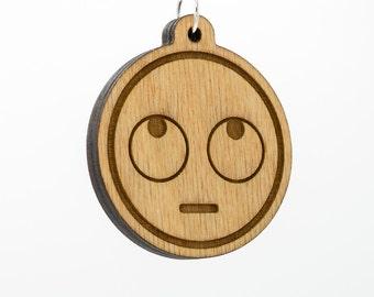 Rolling Eyes Emoji Wooden Keychain - Roll Eye Emoji Carved Wood Key Ring - Face with Rolling Eyes Emoji Wooden Engraved Charm