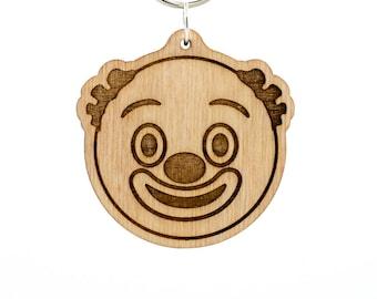 Clown Face Keychain - Clown Charm - Clown Face Emoji Wood Key Ring - Clown Emoji Engraved Charm Keyring