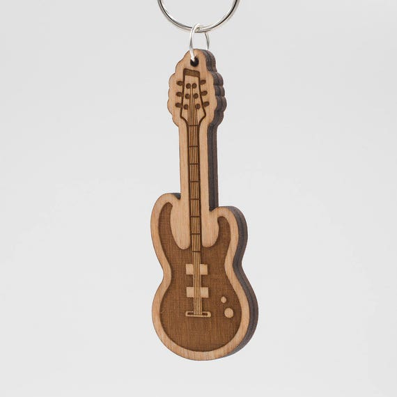 Classic Rock Electric Guitar Keychain Rock Guitar Carved Etsy
