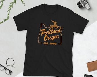 Portland Oregon Old Town t-shirt - Orange Old Town Portland OR Shirt - White Stag Sign Shirt - Oregon Tee Shirt - Portland OR Shirt