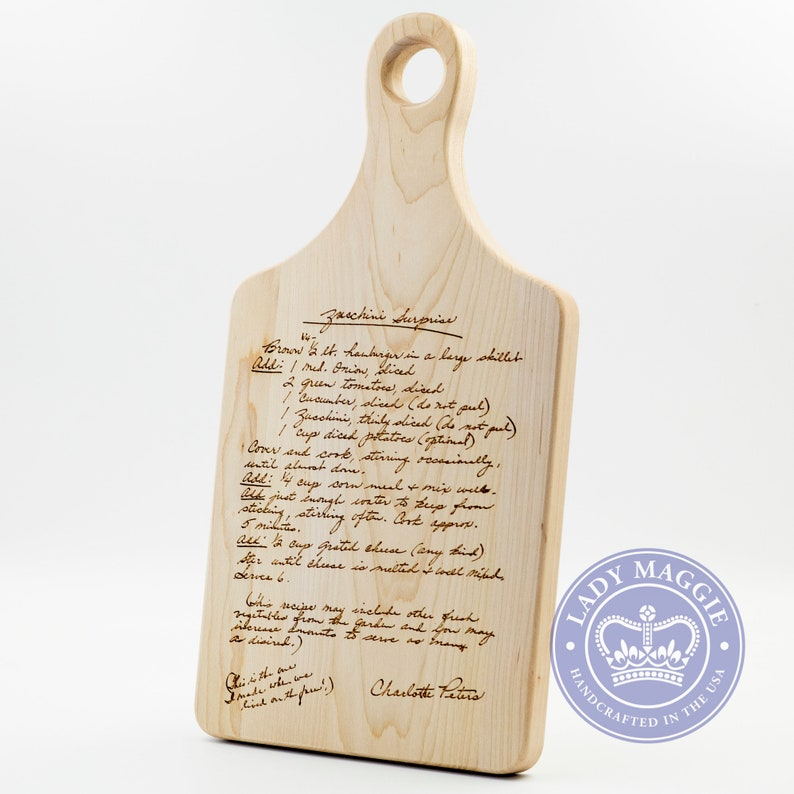 Custom Engraved Handwritten Recipe Maple Board  Family Recipe image 0