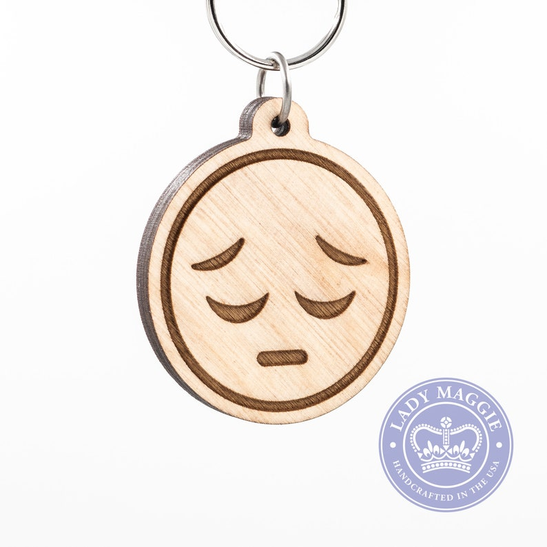 Sad Face Emoji Keychain - Pensive Face Emoji Wooden Keychain - Sadface  Emoji - Remorseful Emoji Carved Wood Key Ring - Sad Face Emoji