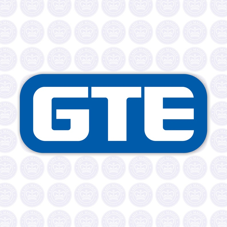 GTE Vintage Logo Bumper Sticker  Retro GTE Decal  General image 0
