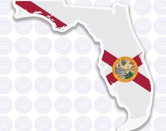 Florida Decal - FL State Flag Decal - Florida State Bumper Sticker - State of Florida Decal - FL Flag Sticker - Florida Bumper Sticker