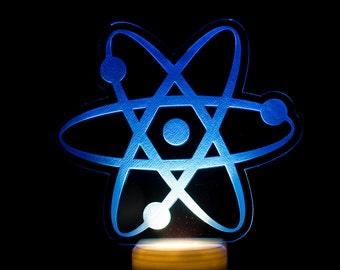 Atom Night Light - Atomic Nightlight - Atomic Particles LED Nightlight - Atomic Light - Science Theme Bedroom - Planetary Theme Night Light