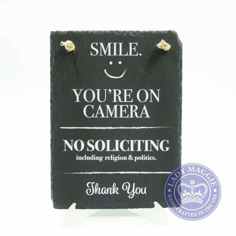Smile You're On Camera Front Door Slate Sign  No image 0