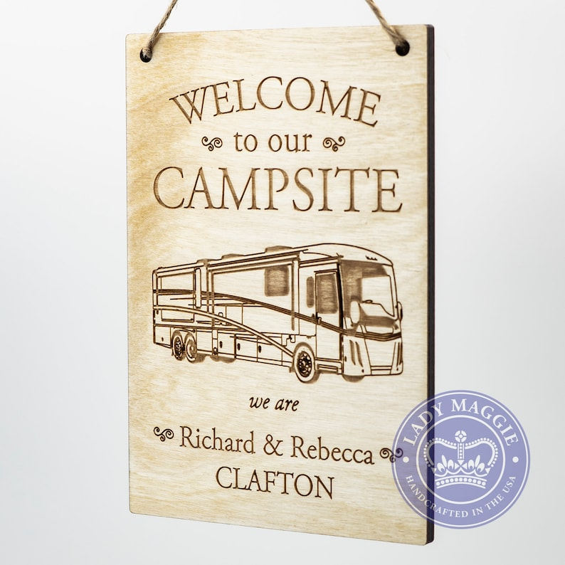 Personalized RV Sign  Welcome to our Campsite Wood Sign  image 0