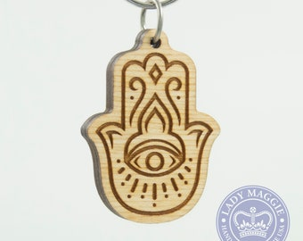 Hamsa Charm Keychain - Hamsa Protective Eye Carved Wood Key Ring - Khamsa Wooden Engraved Charm - Evil Eye Protection Charm Engraved Keyring