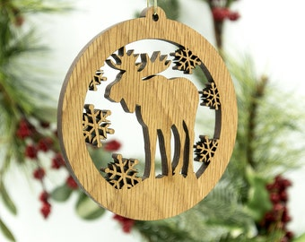 Moose Christmas Wood Ornament - Woodland Animal Silhouette Laser Cut Wooden Tree Decoration - White Oak Moose Ornament - Wildlife Ornament
